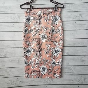 Olivia Blu | Pale Coral Floral Pencil Skirt (A24)